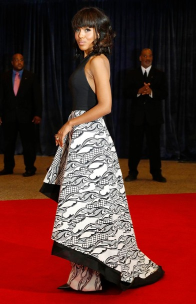 Actress Washington arrives on the red carpet at the annual White House Correspondents' Association dinner in Washington