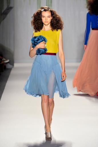 Jenny Packham mustard top, blue skirt