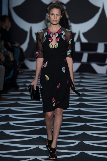 DVF black and flowers dress