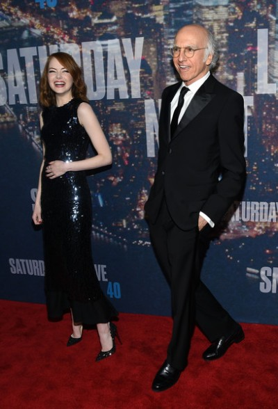 Emma Stone and Larry David