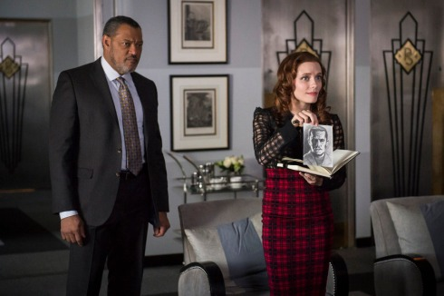 "HANNIBAL -- ""The Number of the Beast is 666"" Episode 312 -- Pictured: (l-r) Laurence Fishburne as Jack Crawford, Lara Jean Chorostecki as Freddie Lounds -- (Photo by: Brooke Palmer/NBC)"
