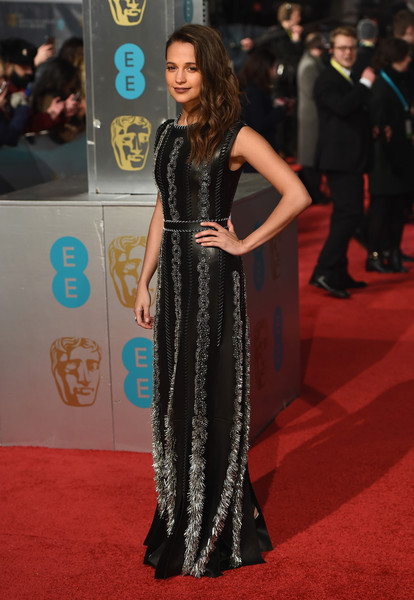 131329e855b0 More leather and Alicia Vikander s BAFTA Louis Vuitton frock is a weighty  35 lbs. The last three big events has seen Vikander wearing a variety of  looks ...