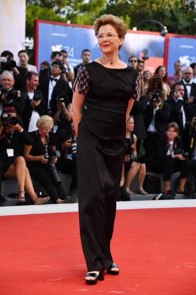 a036301c86 And later on at the Downsizing premiere Venice jury member and Queen  Annette Bening gives a classic style lesson in black Armani with  embellished sleeves.