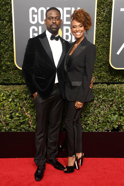 960331fd Golden Globe winner (that sure feels good to type) Sterling K. Brown in a  velvet Isaia tux looks fabulous, but wife Ryan Michelle Bathe steals the  show in ...